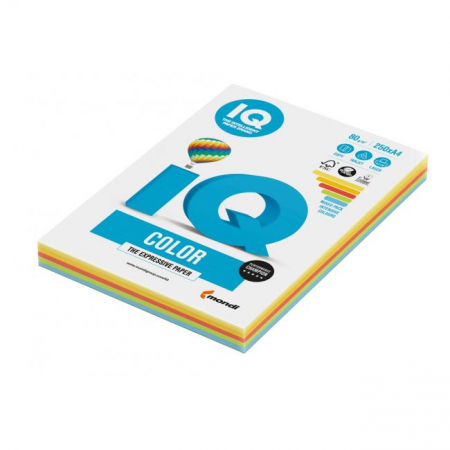 Farebný papier IQ color 5x50 mix intenzívne farby, A4 80g