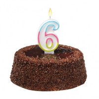 Tortová sviečka číslovka 6