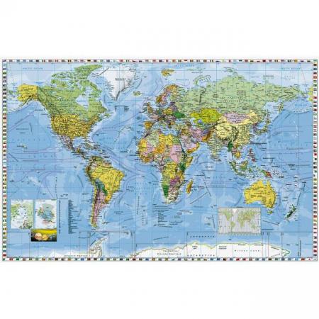 Mapa Svet politický s vlajkami štátov
