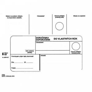 Poštové obálky B6 doručenka do VR bez OD, 100 ks
