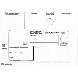 Poštové obálky B6 doručenka do VR bez OD, 1000 ks