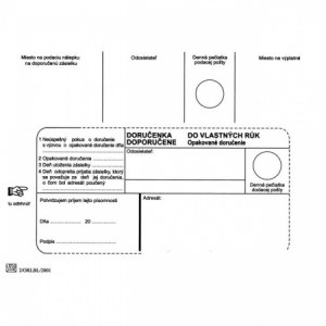 Poštové obálky B6 doručenka do VR OD, Doposielať, 100 ks