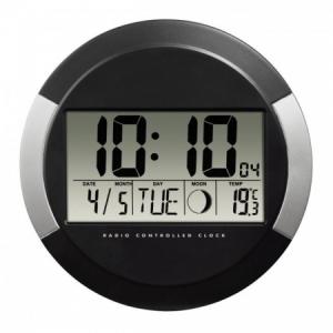 Nástenné hodiny digitálne PP-245 24,5cm čierno-strieborné