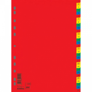 Plastový rozraďovač DONAU farebný 1-31