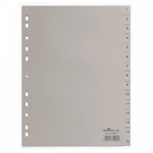 Plastový rozraďovač DURABLE 1-15 sivý