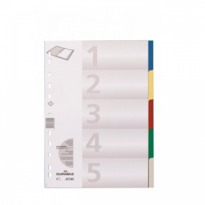 Plastový rozraďovač DURABLE 5-dielny farebný