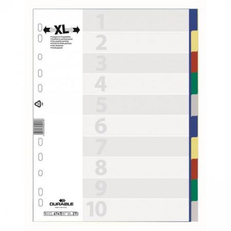 Plastový rozraďovač DURABLE 10-dielny maxi farebný