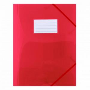 Plastový obal s gumičkou DONAU polopriehľadný červený