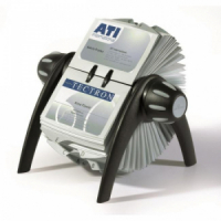 Rotačný stolový vizitkár na 400 vizitiek VISIFIX Flip VEGAS čierny/sivý
