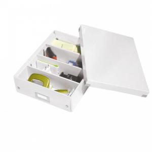 Stredná organizačná škatuľa Click & Store perleťovo biela