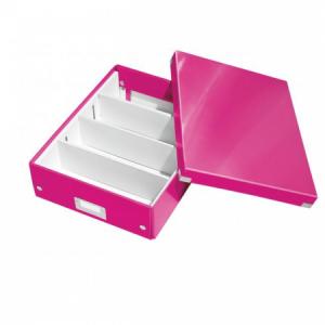 Stredná organizačná škatuľa Click & Store metalická ružová