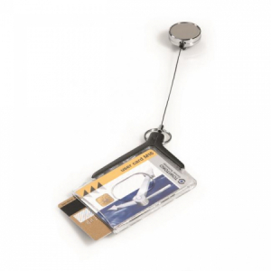 Visačka na 2 plastové karty s kotúčom DURABLE DE LUXE DUO PRO 85x54mm 10ks