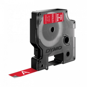 Permanentná vinylová páska Dymo D1 12 mm červená/biela
