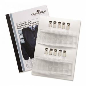 Visačka na plastovú kartu so štipcom DURABLE 85x54mm 10ks