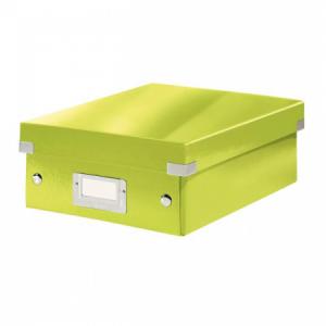 Malá organizačná škatuľa Click & Store metalická zelená