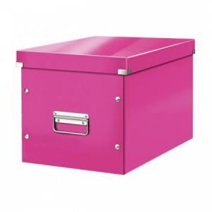 Štvorcová škatuľa Click & Store A4 metalická ružová