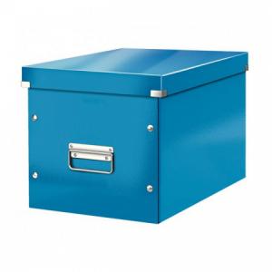 Štvorcová škatuľa Click & Store A4 metalická modrá