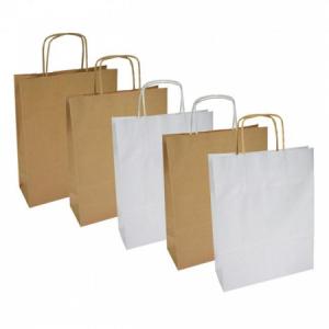 Papierová taška, stáčané ušká, 305x170x340mm, biela široké dno