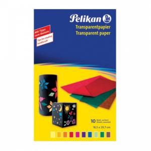 Farebný papier Pelikan transparentný 10ks 30x18cm mix farieb