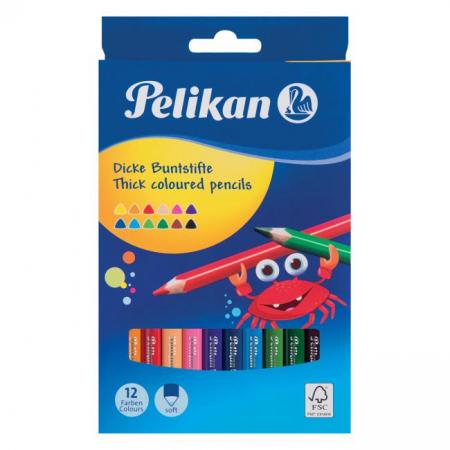 241760062 Farbičky Pelikan trojhranné hrubé 12 ks