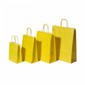 Papierová taška, stáčané ušká, 260x120x350mm, žltá