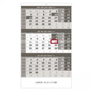 Trojmesačný kalendár sivý 2020