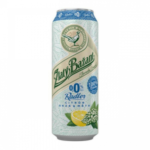 Pivo Zlatý Bažant 0% nealko radler 0,5l 6ks Citrón Baza Mäta plech