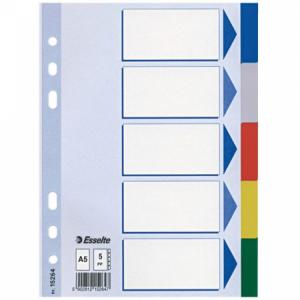 Plastový rozraďovač Esselte A5 5-dielny farebný