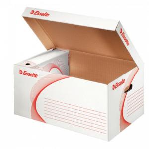 Archívna škatuľa so sklápacím vekom Esselte biela/červená