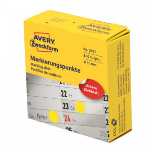 Etikety kruhové 10mm Avery žlté v dispenzore