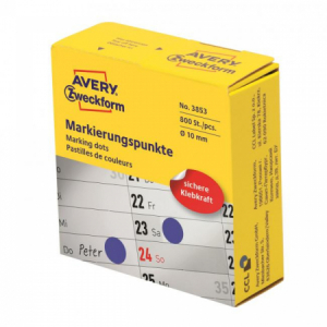 Etikety kruhové 10mm Avery modré v dispenzore