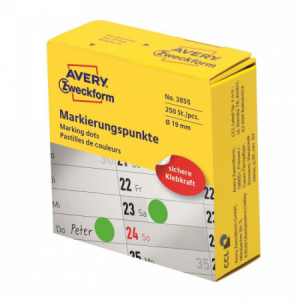 Etikety kruhové 19mm Avery zelené v dispenzore
