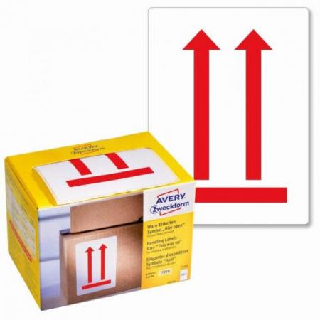 Etikety Avery s varovným symbolom _ Neklopiť_ 74x100mm na kotúči