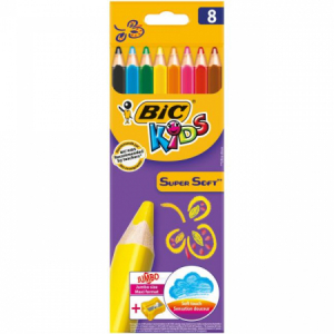 Farbičky BIC Supersoft 8ks so strúhadlom