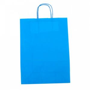 Papierová taška, stáčané ušká, 260x120x350mm, modrá