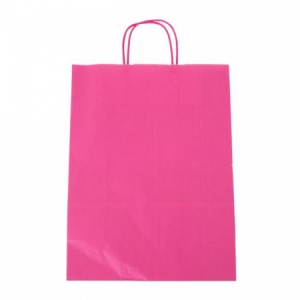 Papierová taška, stáčané ušká, 260x120x350mm, ružová