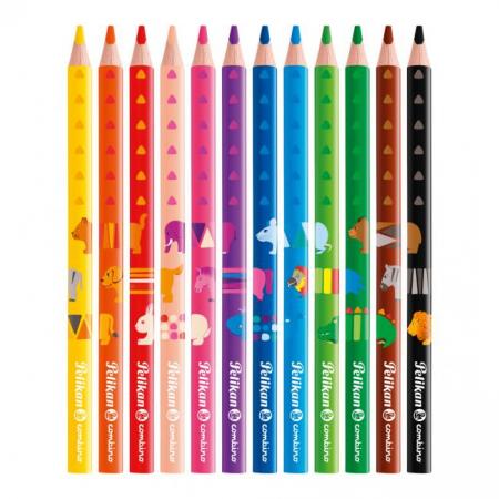 Farbičky Pelikan Combino so zvieracími motívmi silné 12ks