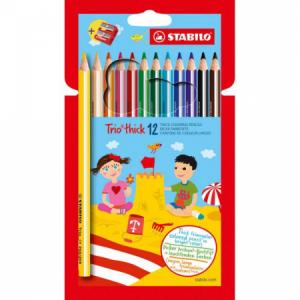 Farbičky STABILO Trio so strúhadlom 12ks