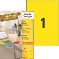 Etikety farebné 210x297mm Avery A4 100 hárkov žlté