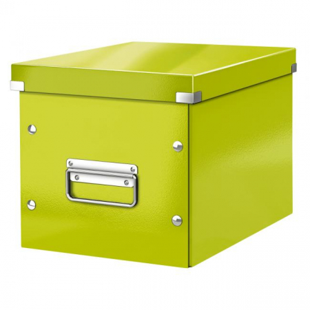 Štvorcová škatuľa A5 (M) Click & Store metalická zelená