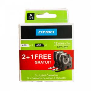 Promo balenie Dymo D1 pások 12 mm 2xbiela/čierna,1x čierna/biela