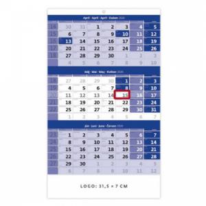 Trojmesačný kalendár modrý 2020