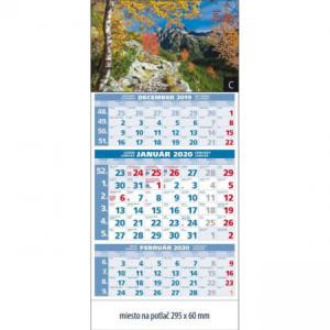 Plánovací kalendár štandard 3-mesačný modrý 295x663 mm 2020
