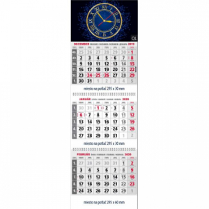 Plánovací kalendár Klasik 3-mesačný sivý, 295x925 mm 2020