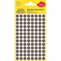 Etikety kruhové 8mm Avery hnedé