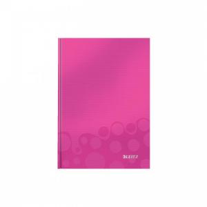 Záznamová kniha Leitz WOW A5 80 listov štvorčeková ružová
