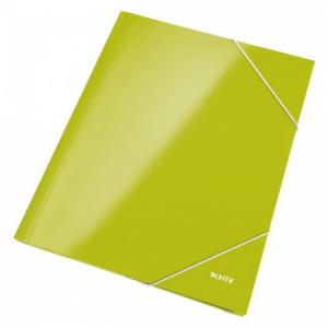 Kartónový obal lesklý s gumičkou Leitz WOW zelený