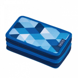 Peračník Herlitz 3 zipsový plný Kocka modrá