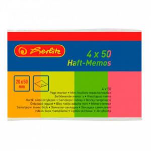 Záložky Herlitz papierové 20x50mm 50 ks 4 farby