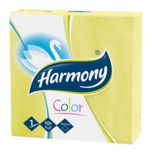 Papierové servítky 1-vrstvové HARMONY 33x33cm žlté 50ks